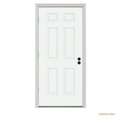 36 in. x 80 in. 6-Panel White Painted Steel Prehung Right-Hand Outswing Front Door w/Brickmould