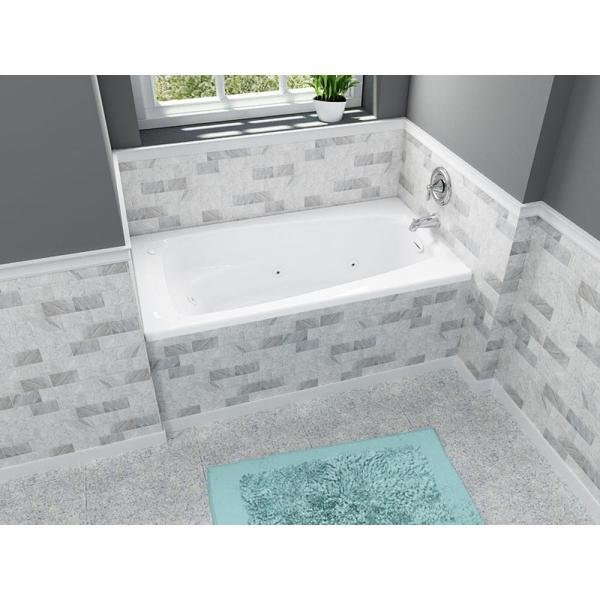 American Standard Everclean Reversible Drain 60 In Acrylic Rectangular Drop In 6 Jet Whirlpool Bathtub In White 2732lc 020 The Home Depot