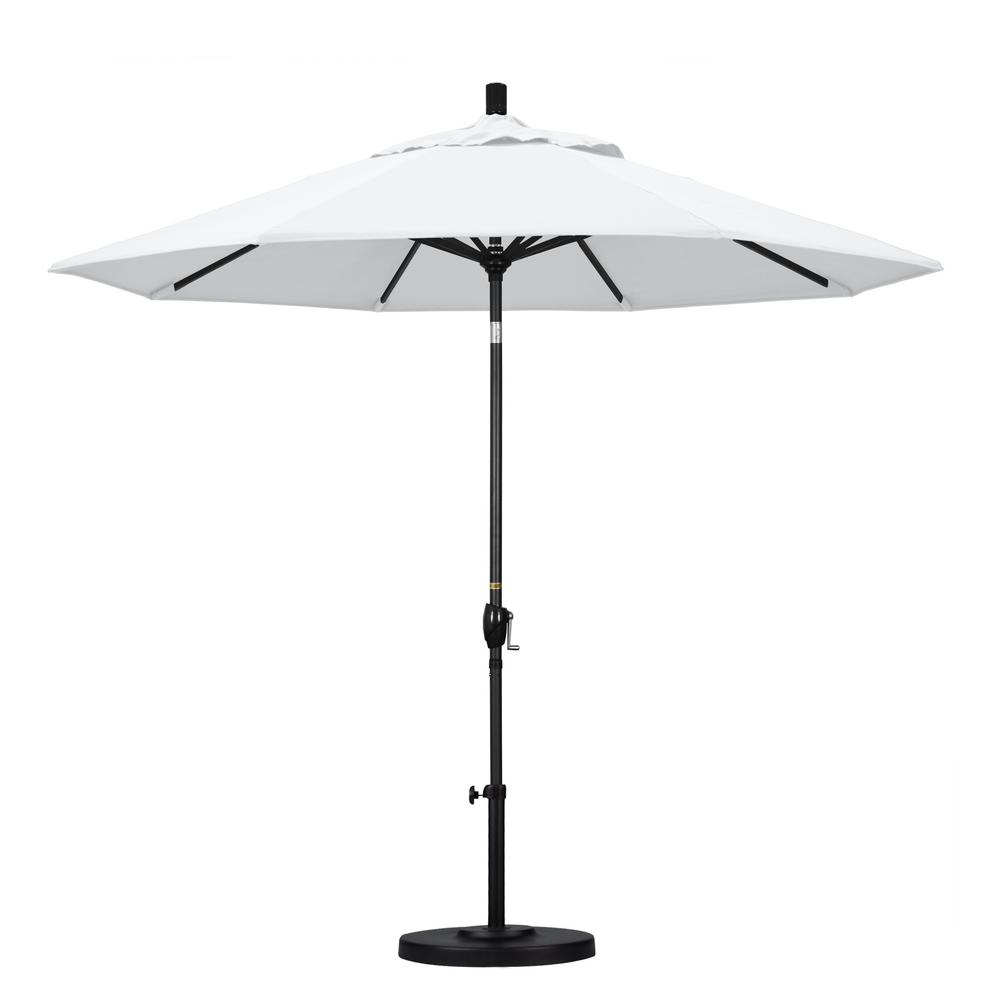 9 ft. Aluminum Push Tilt Patio Umbrella in White Olefin