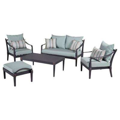 Astoria 5-Piece Patio Seating Set with Bliss Blue Cushions