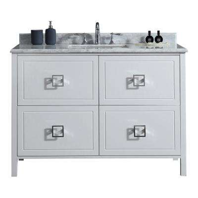 Drexel 48 in. W Vanity in White with Marble Vanity Top in White with White Sink