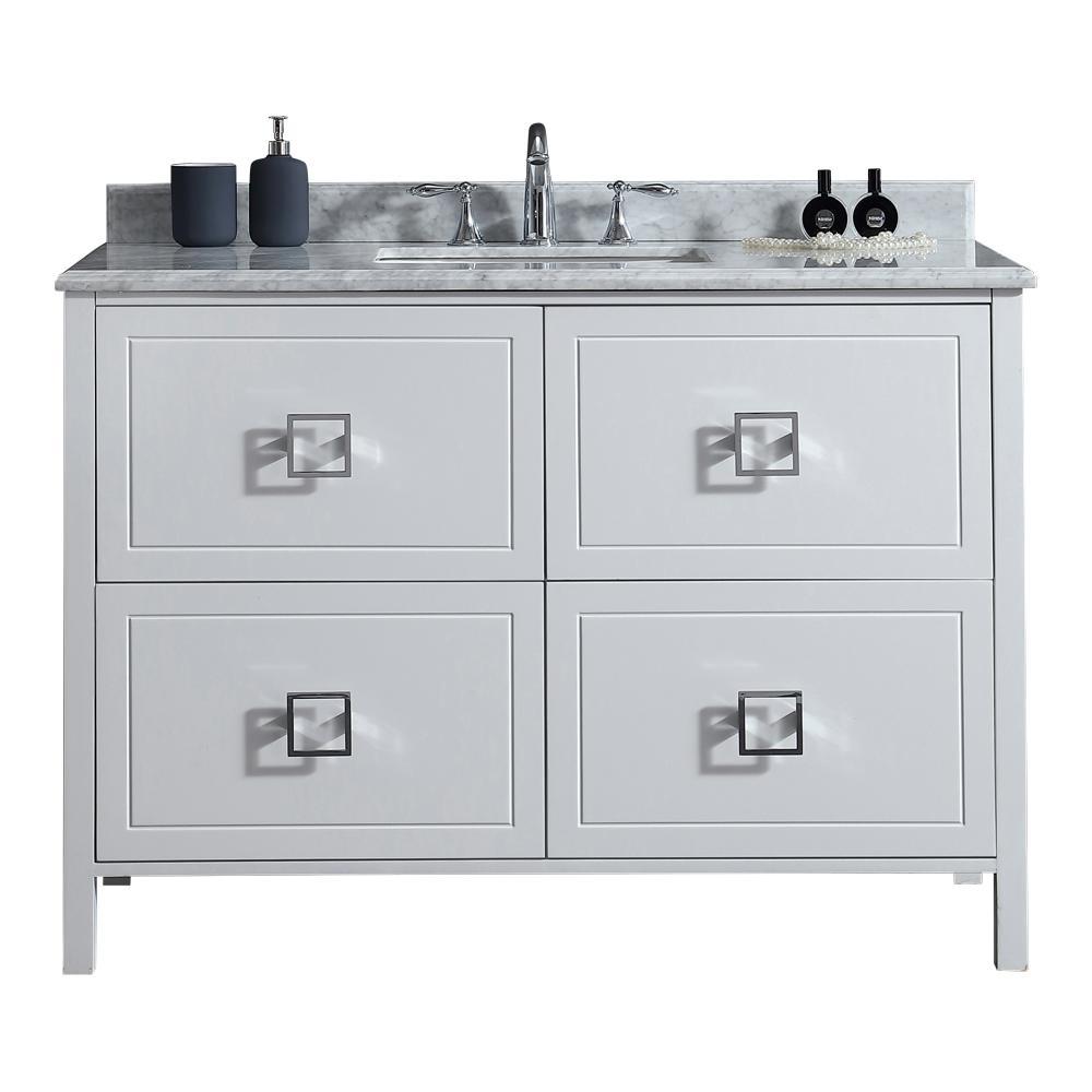 Home Decorators Collection Drexel 48 in. W Vanity in White with Marble Vanity Top in White with White Sink