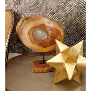 Round Teak Wood Cross-Section Cut Log with Carved-Out Resin-Filled Center Hole Sculpture by