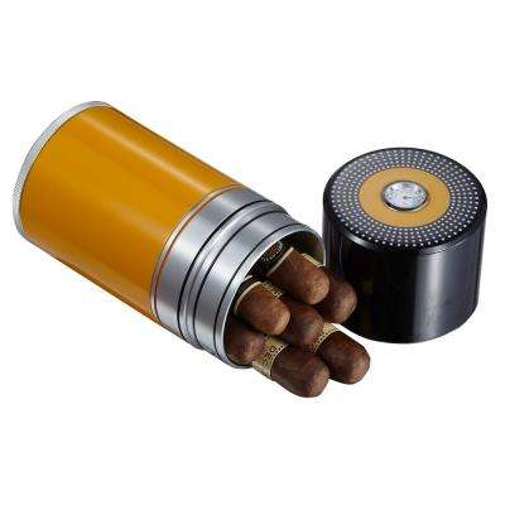 Big Joe 7-Cigar Travel Black and Yellow Cigar Case