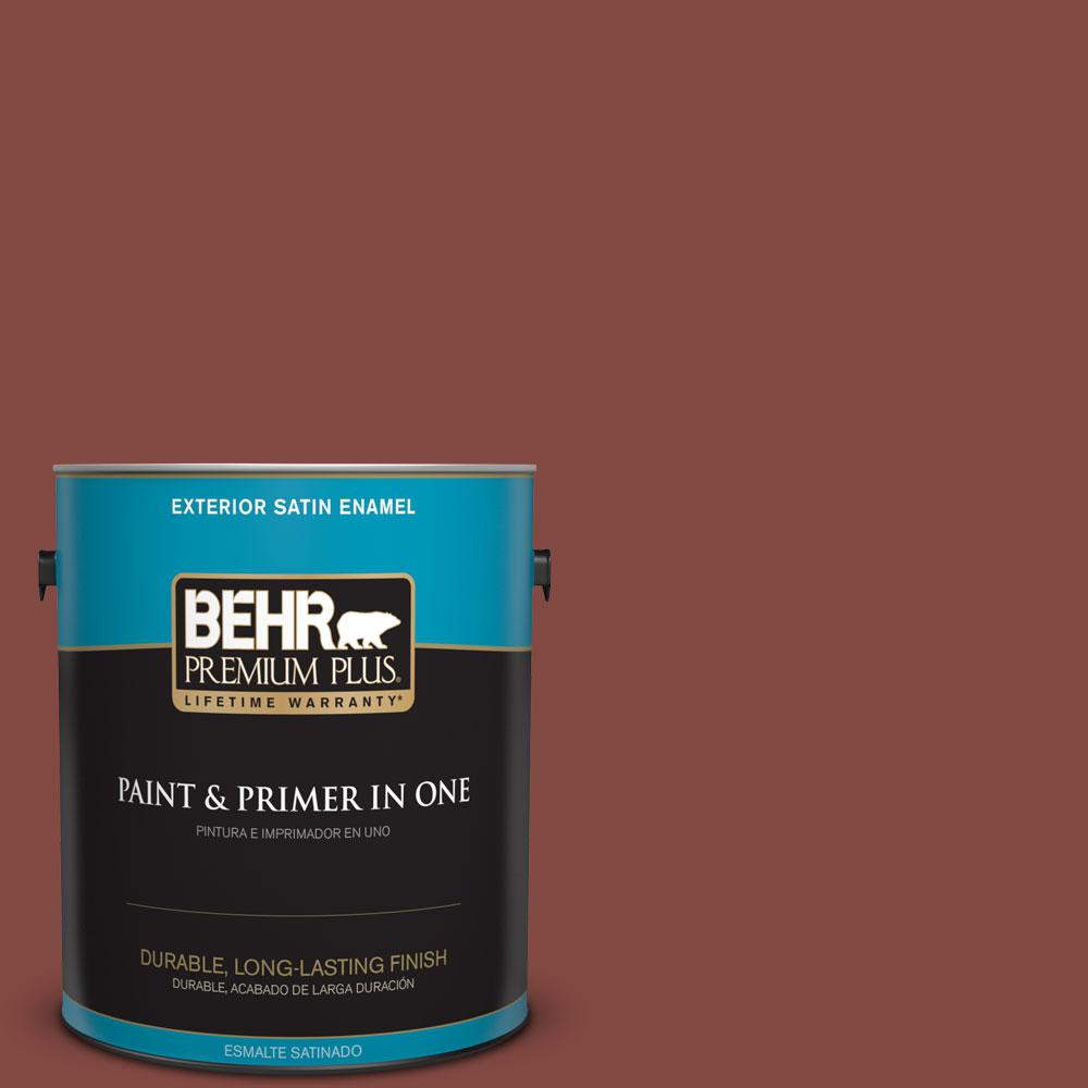 BEHR Premium Plus 1-gal. #S140-7 Deco Red Satin Enamel Exterior Paint