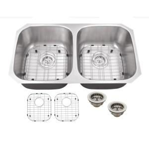 All-in-One Undermount 18-Gauge Stainless Steel 32 in. 0-Hole 50/50 Double Bowl Kitchen Sink