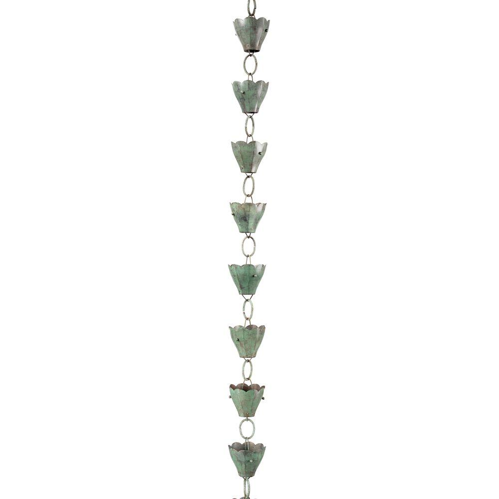 13 Cup Tulip Pure Blue Verde Copper 8.5 ft. Rain Chain