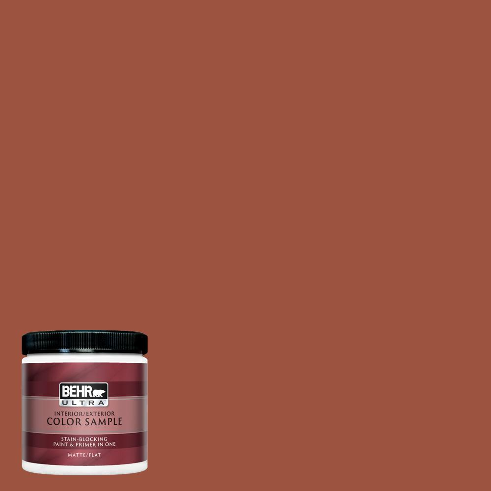 Behr Ultra 8 Oz 210d 7 Firebrick Matte Interior Exterior Paint And Primer In One Sample Ul20316 The Home Depot