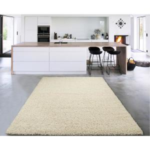 Cozy Shag Collection Cream 3 ft. x 5 ft. Indoor Area Rug