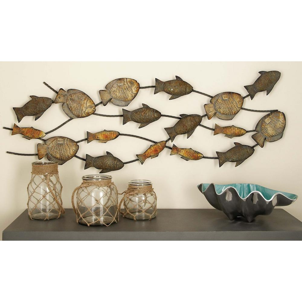 Gold And Silver Iron Schooling Fish Wall Decor