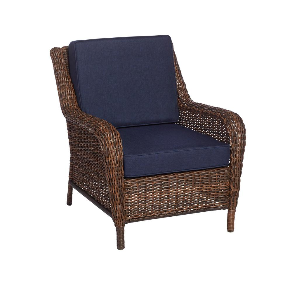 Marvelous Hampton Bay Cambridge Brown Wicker Outdoor Patio Lounge Chair With Standard Midnight Navy Blue Cushions Ocoug Best Dining Table And Chair Ideas Images Ocougorg
