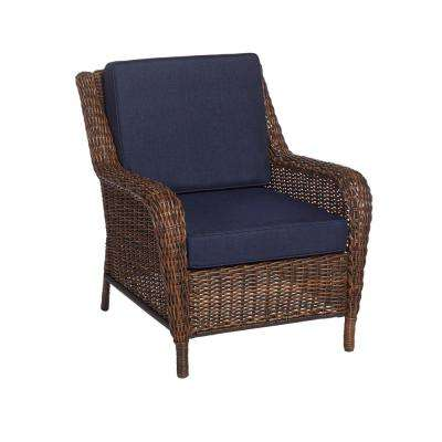Cambridge Brown Wicker Outdoor Patio Lounge Chair with Standard Midnight Navy Blue Cushions