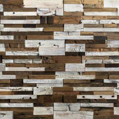 Timber Brown Light Gray 11.81 in. x 23.62 in. x 10mm Wood Mosaic Wall Tile (1.93 sq. ft.)