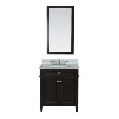 Samantha 30 in. W x 22 in. D Vanity in Espresso with Marble Vanity Top in White with White Basin and Mirror