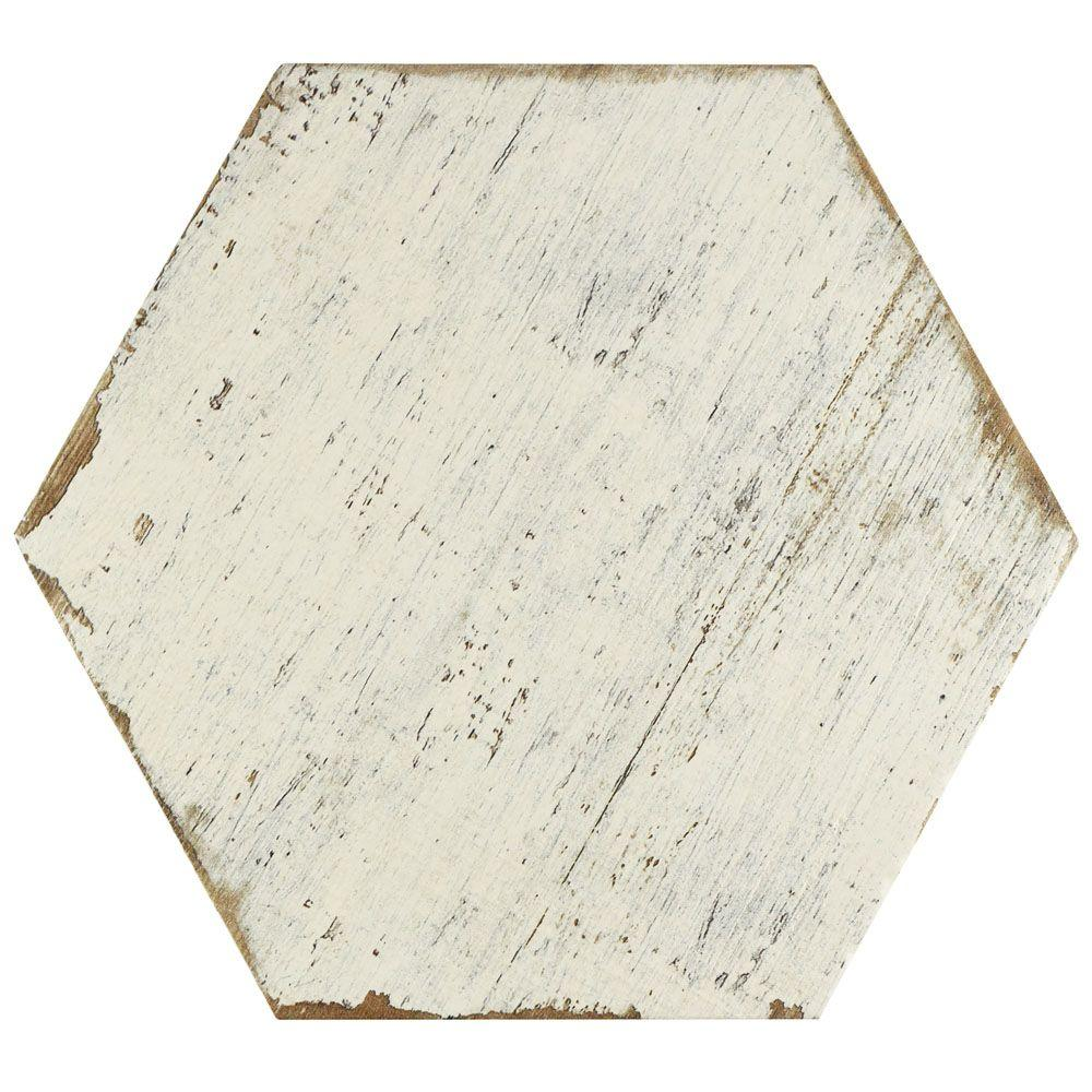 Retro Hex Blanc 14-1/8 in. x 16-1/4 in. Porcelain Floor and
