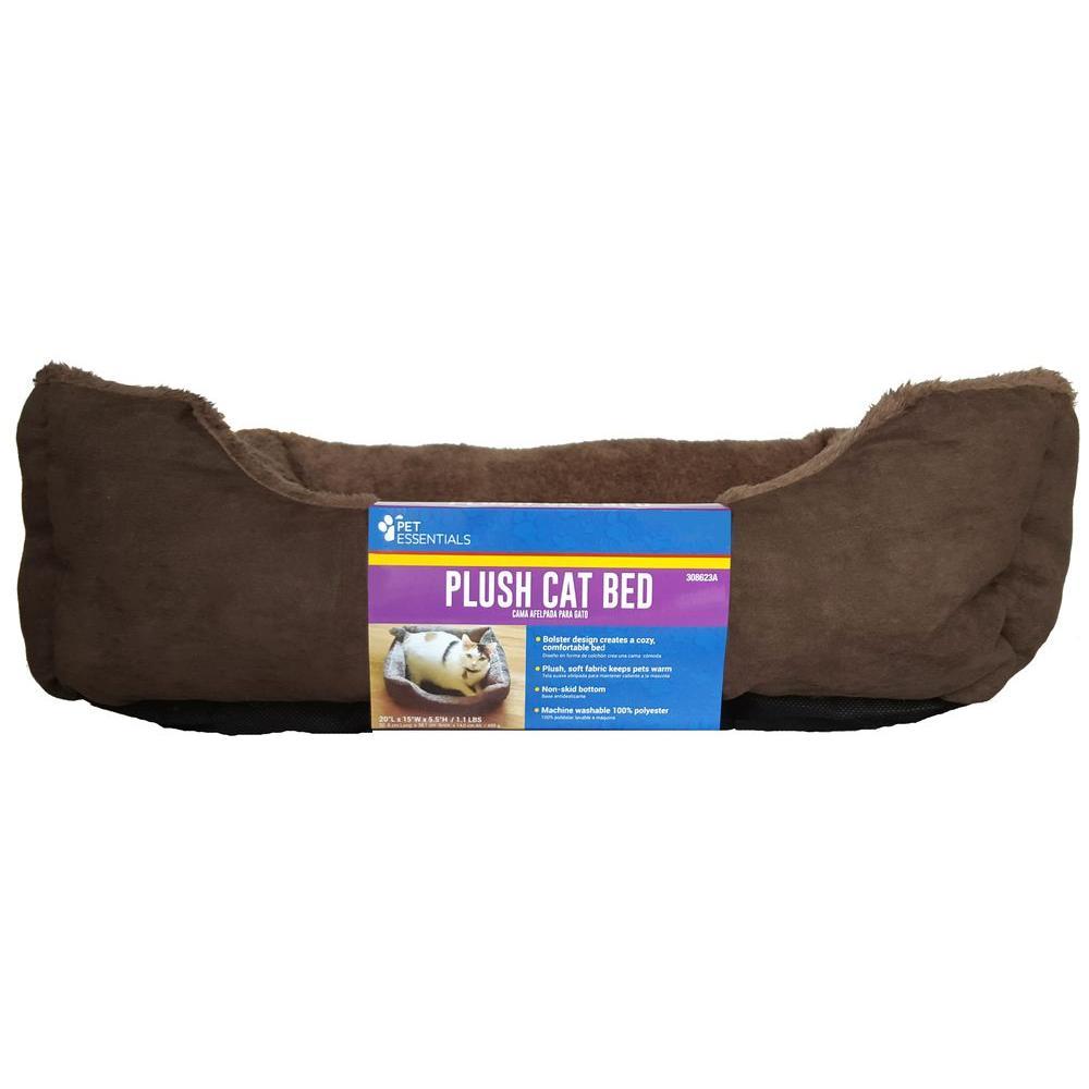 Medium Plush Brown Cat Bed