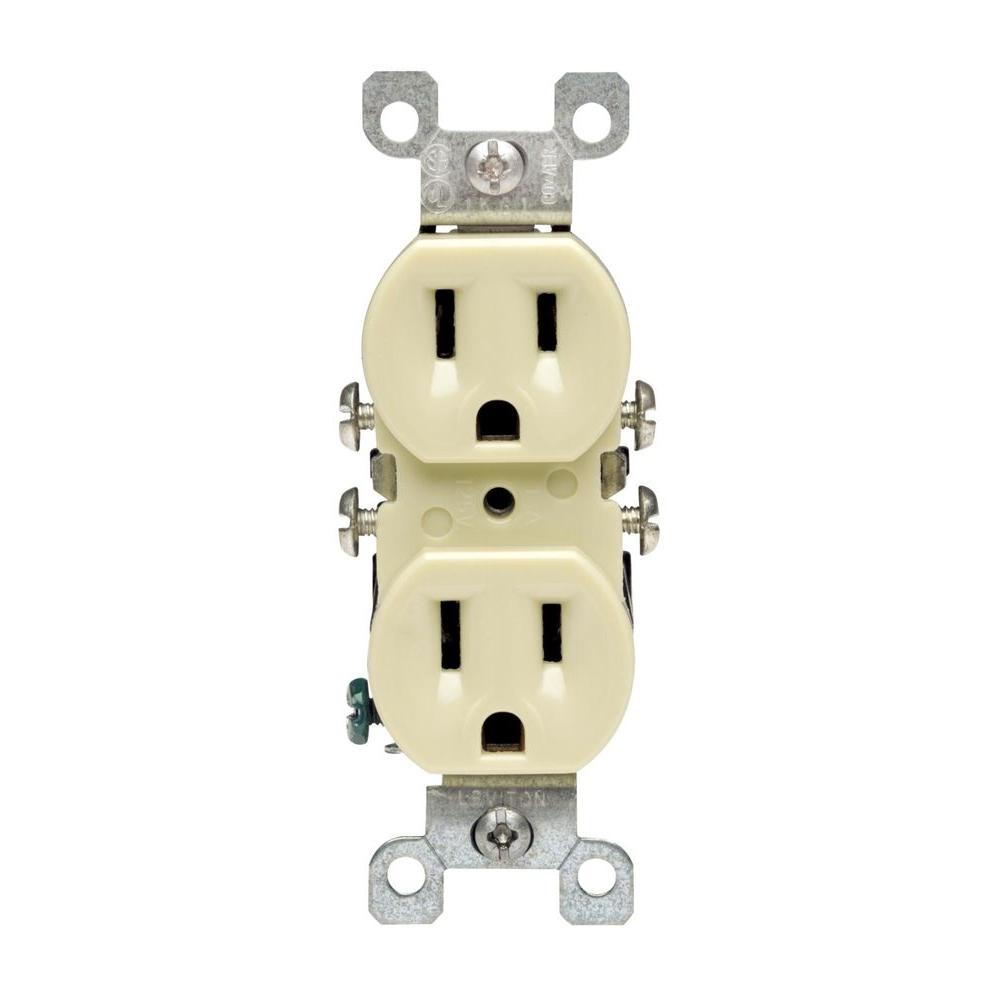 leviton 15 amp co alr duplex outlet ivory r51 12650 00i the home rh homedepot com electrical outlet for aluminum wiring changing electrical outlets with aluminum wiring