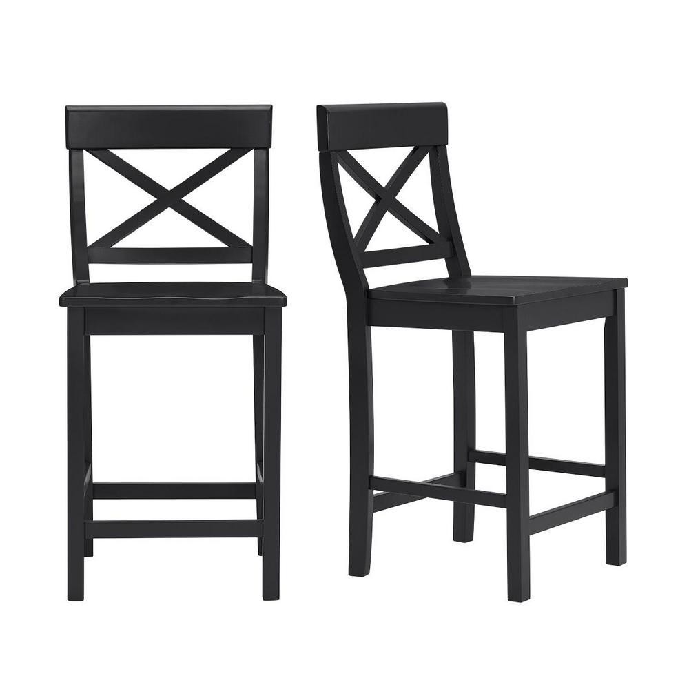 Pleasant Stylewell Cedarville Black Wood Counter Stool With Cross Spiritservingveterans Wood Chair Design Ideas Spiritservingveteransorg