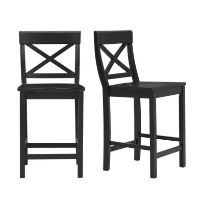 Cedarville Black Wood Counter Stool with Cross Back (Set of 2) (19.42 in. W x 38.22 in. H)