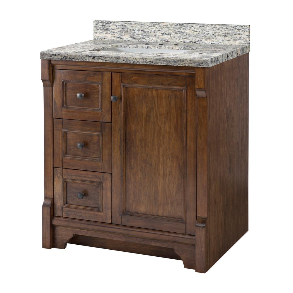 Home Decorators Collection Creedmoor 31 in. W x 22 in D Vanity in Walnut with Granite Vanity Top in Santa Cecilia with White Sink
