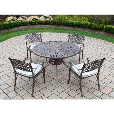 5-Piece Aluminum Outdoor Dining Set with 48 in. Table and 4 Spun Polyester Fabric Cushioned Chairs