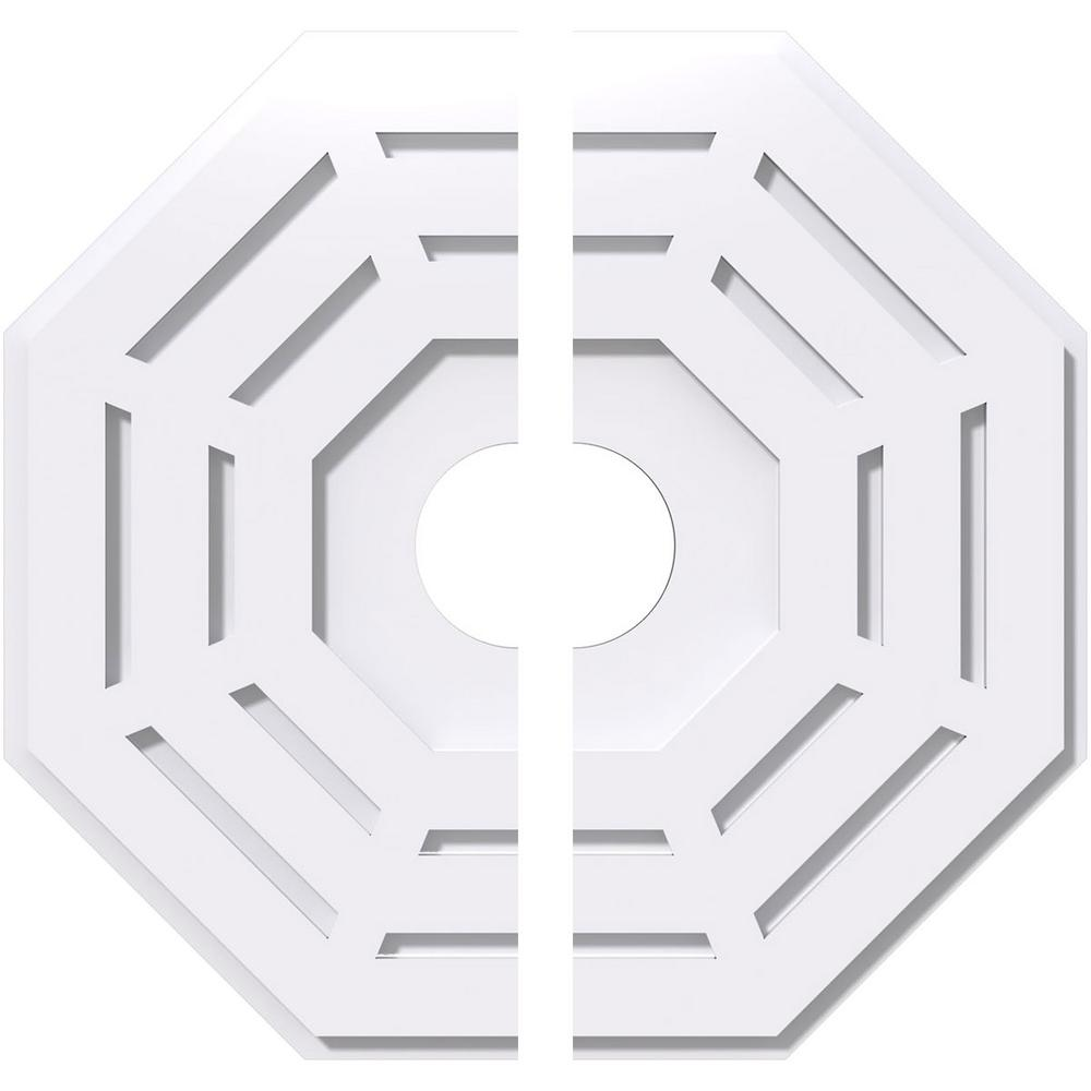 Ekena Millwork 1 in. P X 8 in. C X 20 in. OD X 4 in. ID Westin Architectural Grade PVC Contemporary Ceiling Medallion, Two Piece