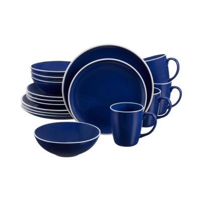 Lisbon 16-Piece Twilight Blue Stoneware Dinnerware Set (Service for 4)