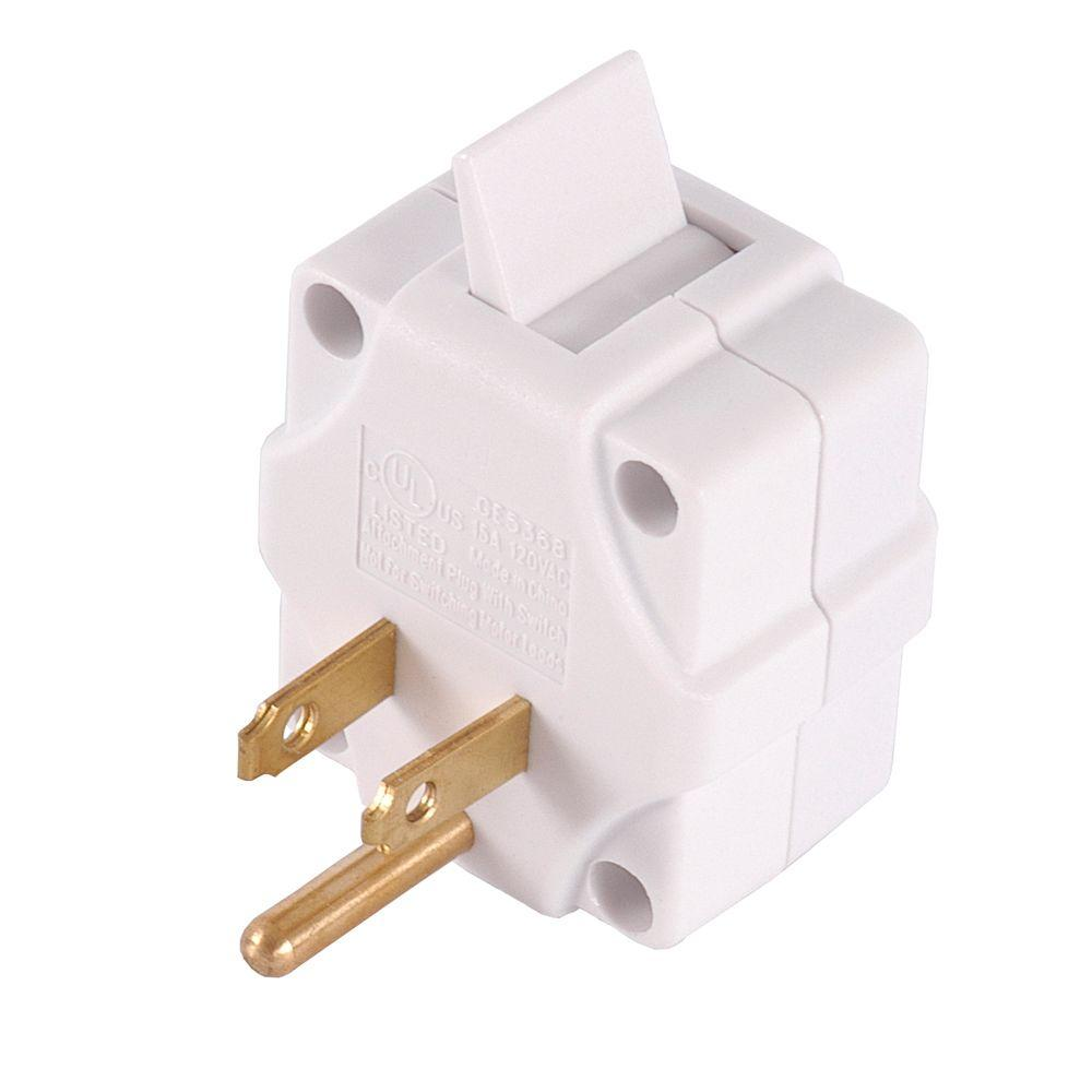 GE 15-Amp Toggle Handy Switch - White