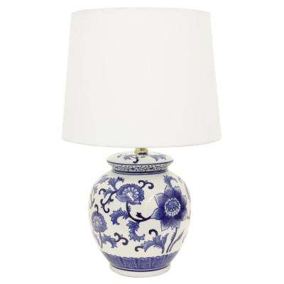 Ceramic Chic 21 in. Blue and White Table Lamp with Cotton Shade