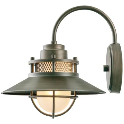 Liam Collection 1-Light Bronze Outdoor Wall Lantern Sconce with Frosted White Glass