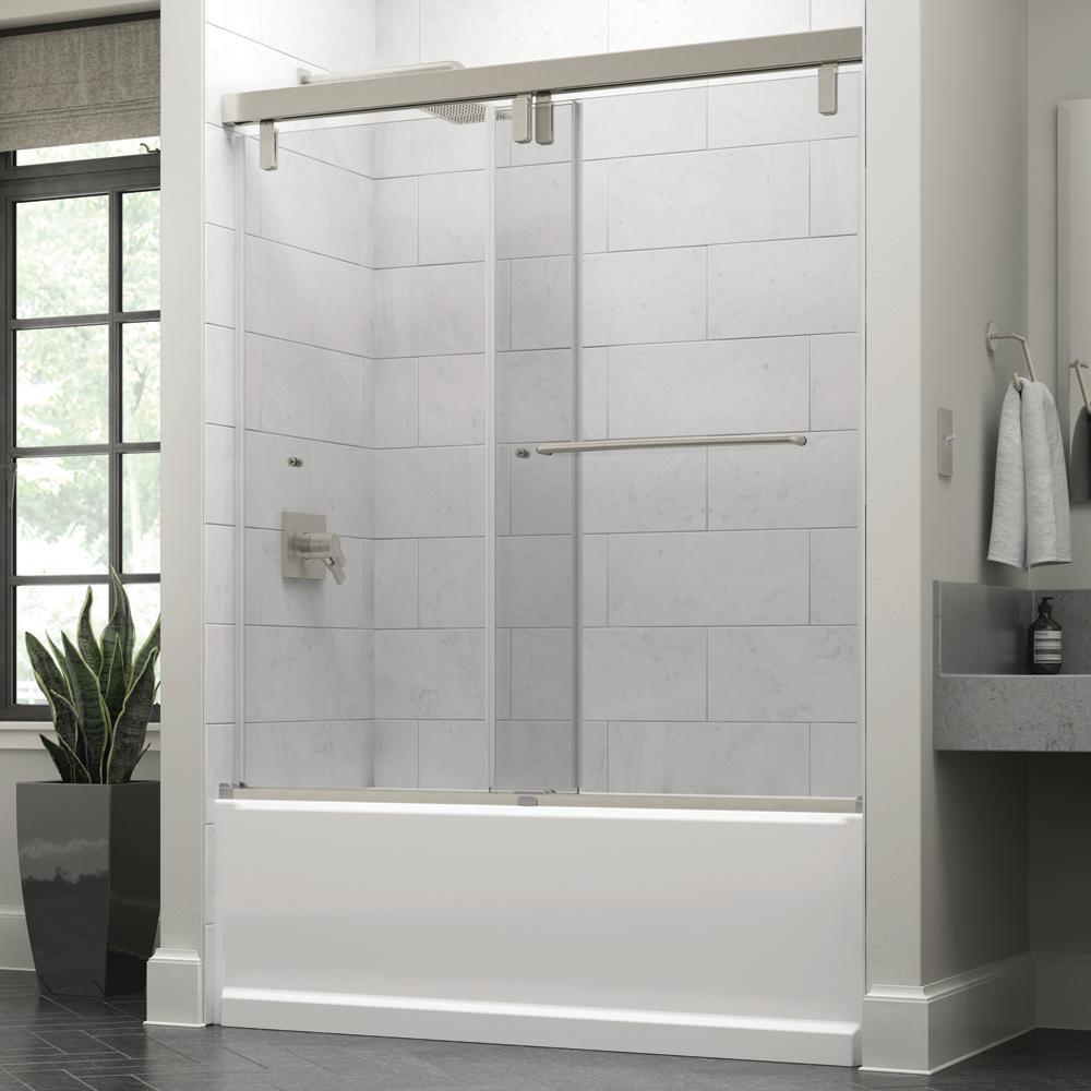 Portman 60 x 59-1/4 in. Frameless Mod Soft-Close Sliding Bathtub Door in Nickel with 3/8 in. (10mm) Clear Glass