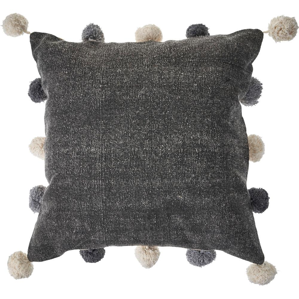 20 in. x 20 in. Gray Pom Pom Solid Pure Cotton Poly-Fill Standard Throw Pillow
