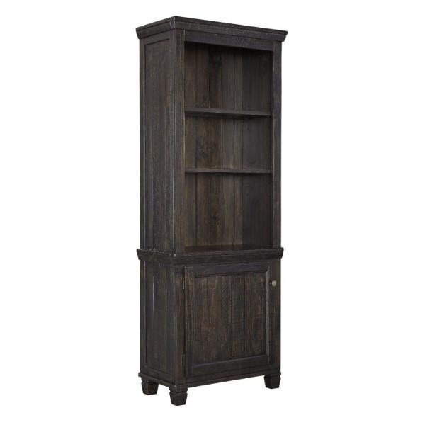 76.13 in. H Dark Brown Wooden Right Pier Cabinet with 1-Door and 2-Shelves
