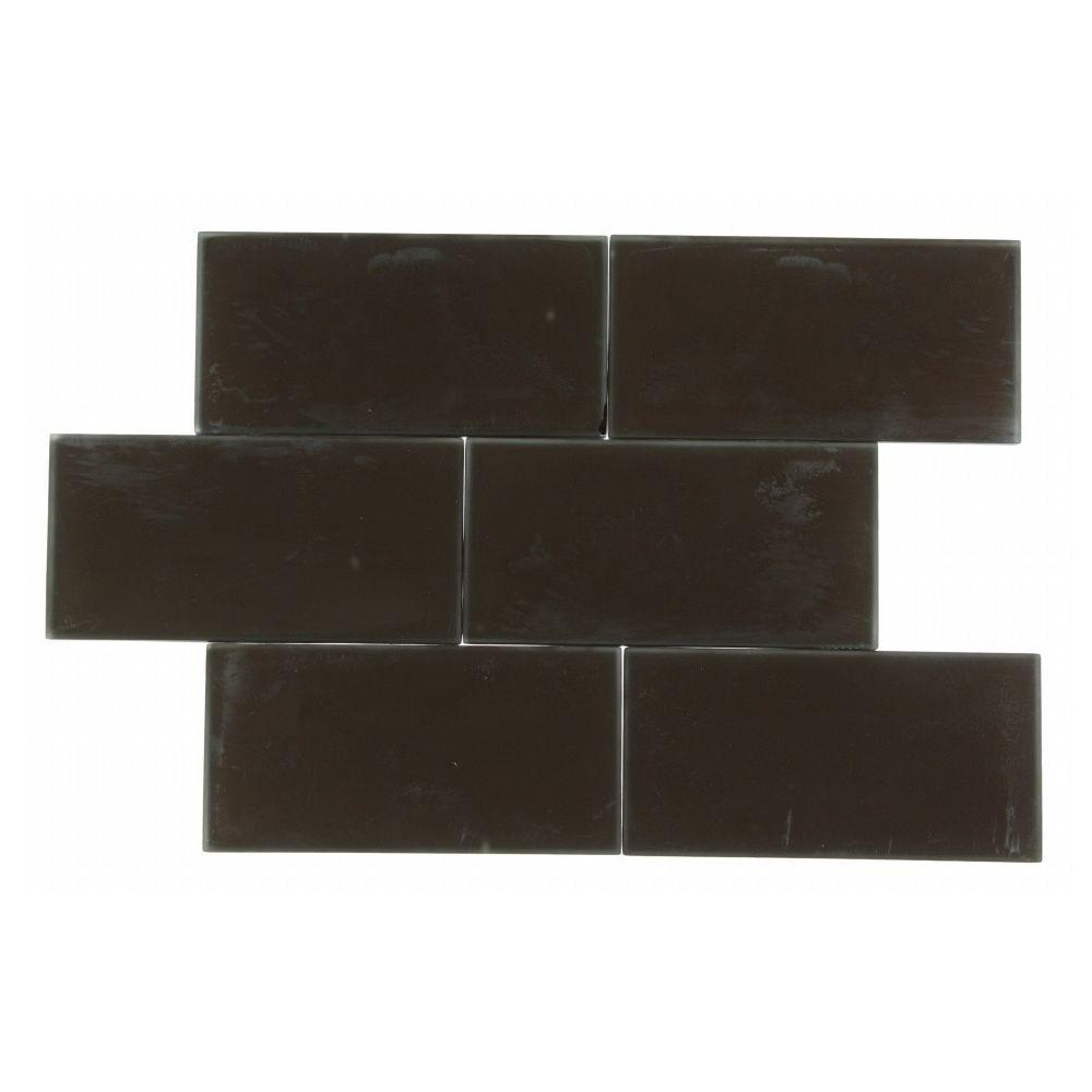 Splashback Tile Contempo 3 in. x 6 in. Mahogany Frosted Glass Tile