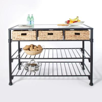 Paula Kitchen Island with Faux White Marble Top and Black Frame with Natural Woven Baskets, No Tools