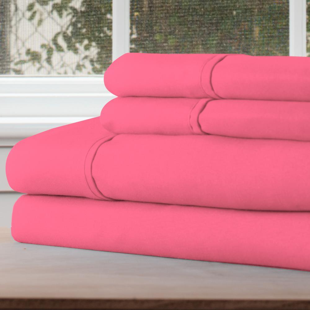 1200 Series 4-Piece Pink Microfiber Full Sheet Set