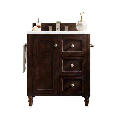 Copper Cove Encore 30 in. W Single Vanity in Burnished Mahogany with Marble Vanity Top in Carrara White with White Basin