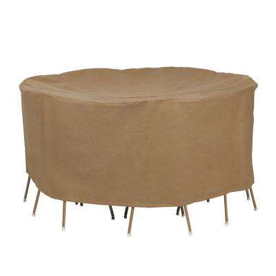 Essential 72 in. D x 29 in. H Latte Round Table and Chair Set Cover