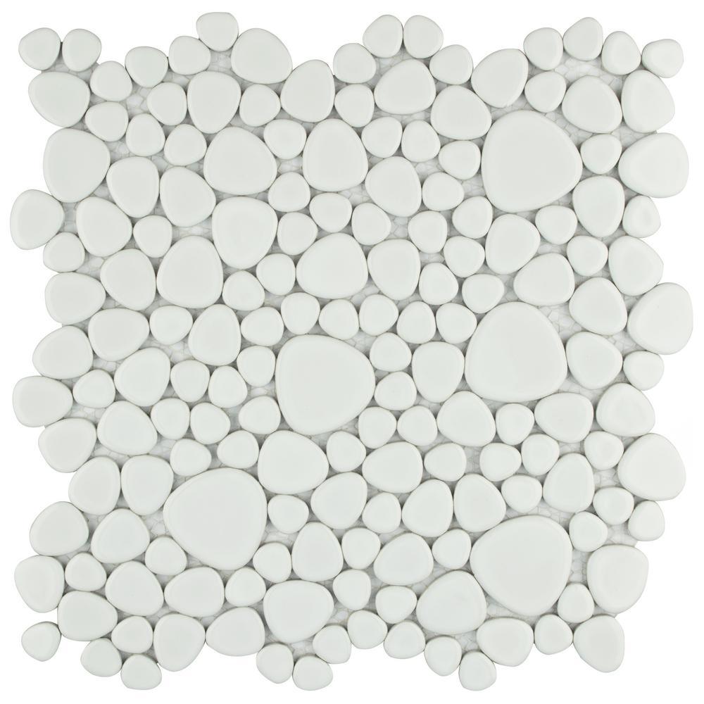 Merola Tile Pebble White 11 in. x 11 in. x 6 mm Porcelain Mosaic Tile (8.6 sq. ft. / case)