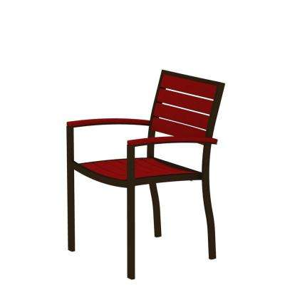 Euro Textured Bronze Patio Dining Arm Chair with Sunset Red Slats
