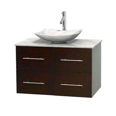 Centra 36 in. Vanity in Espresso with Marble Vanity Top in Carrara White and Sink