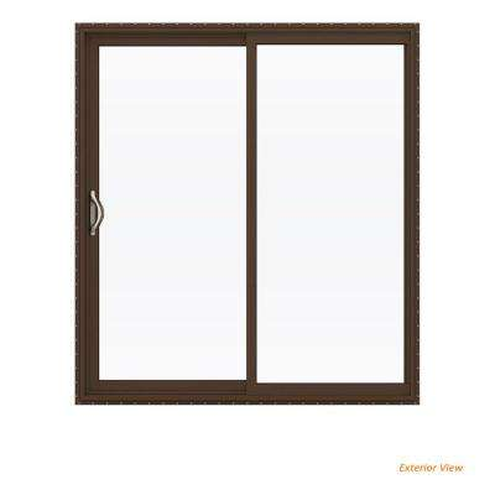 72 in. x 80 in. V-2500 Brown Painted Vinyl Left-Hand Full Lite Sliding Patio Door w/White Interior
