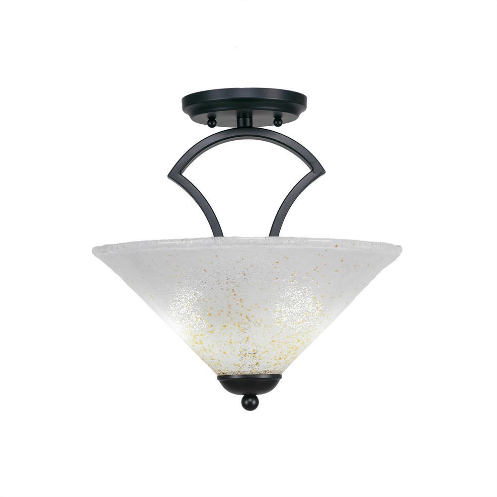 2-Light Matte Black Semi-Flushmount