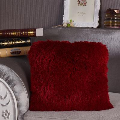 Red Shaggy Polyester Standard Decorative Pillow