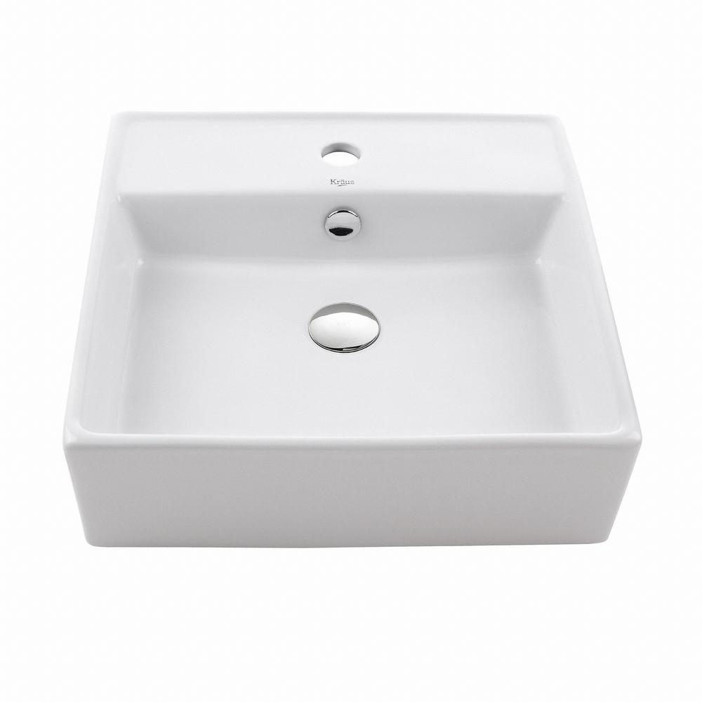 KRAUS Square Ceramic Vessel Bathroom Sink in White. KRAUS Square Ceramic Vessel Bathroom Sink in White KCV 150   The