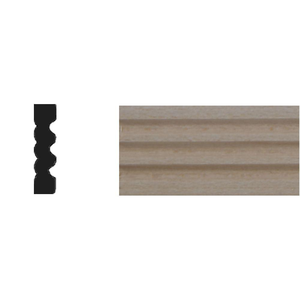House of Fara 1/4 in. x 1 in. x 4 ft. Basswood Reversible Flute Tinytrim Moulding