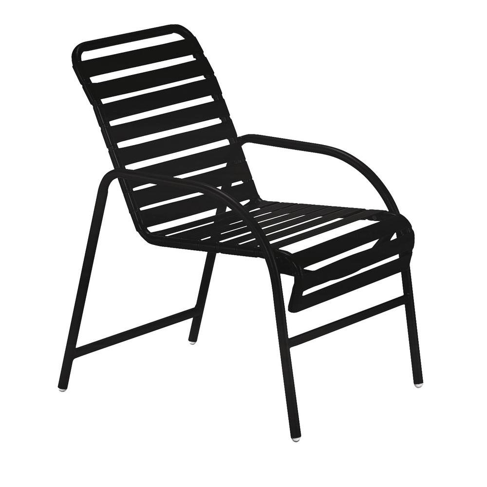 Tradewinds Milan Black Commercial Patio Game Chair (2-Pack)