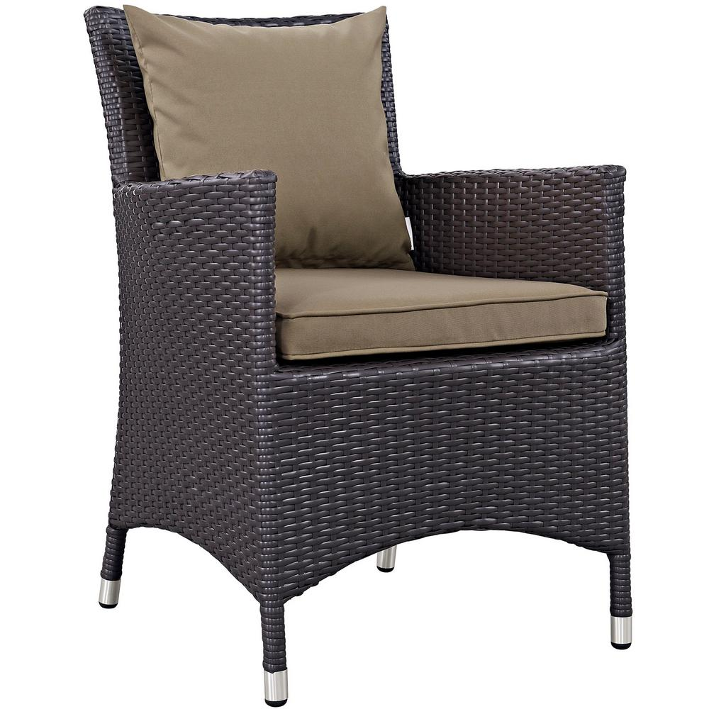 Convene Wicker Outdoor Patio Dining Chair in Espresso with Mocha Cushions