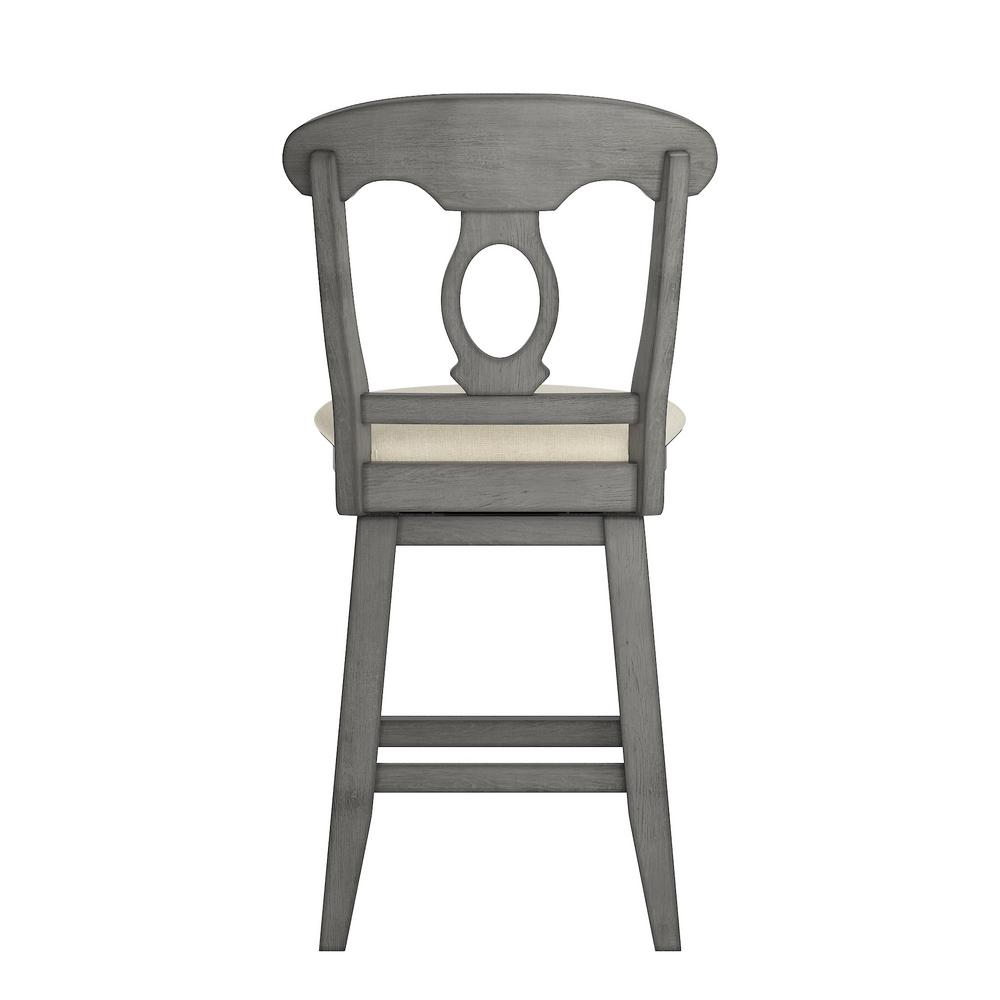 Superb 24 In H Antique Grey Napoleon Back Swivel Chair With Beige Linen Seat Alphanode Cool Chair Designs And Ideas Alphanodeonline
