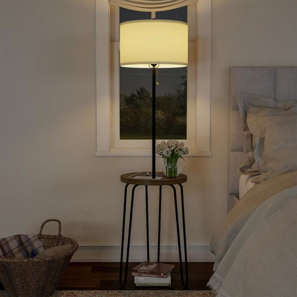Brand Light Bulb Included Rivet Mid-Century Modern Floor Lamp with Wireless USB Port Charging Wood Table 59H Black